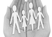 Family members being held in the open palm.